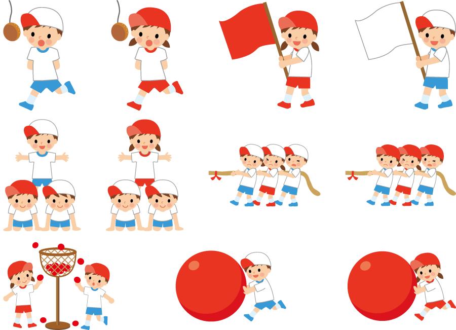 フリー イラスト11種類の運動会の種目セット
