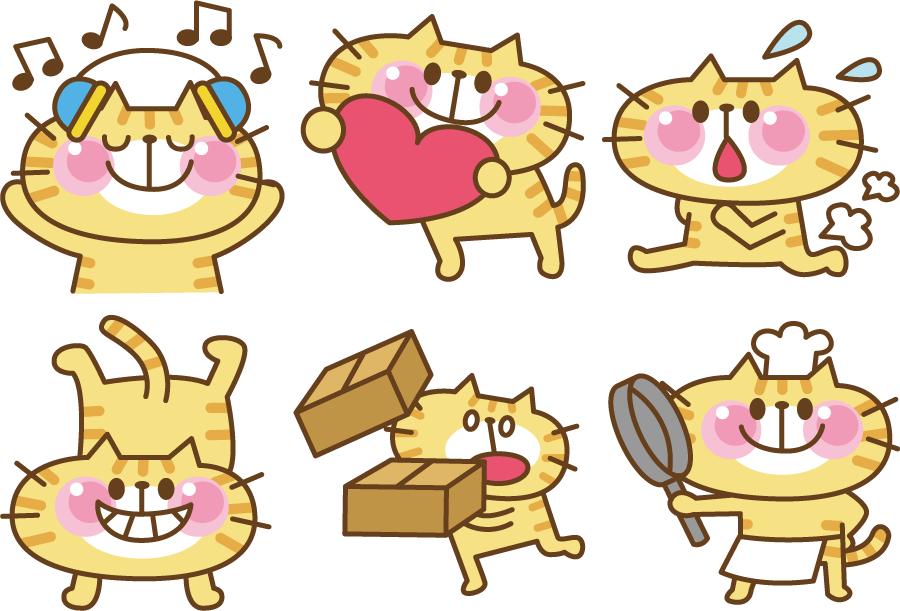 フリー イラスト6種類の表情と動作の違う猫のセット
