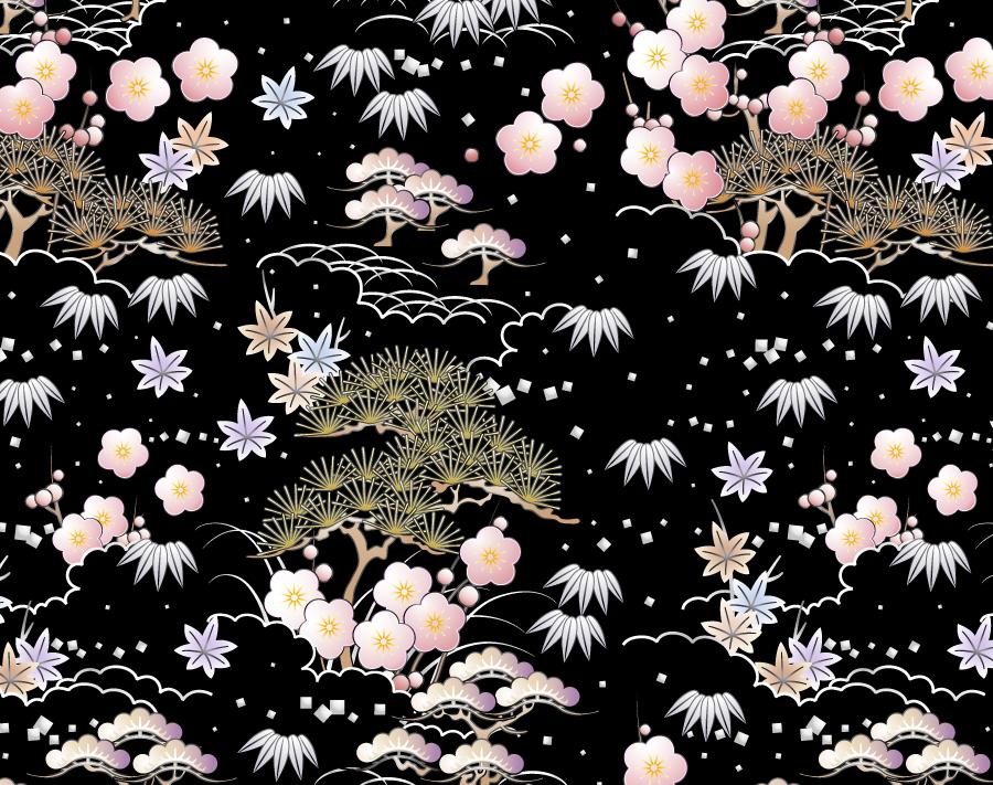 フリー イラスト松竹梅の和柄の背景
