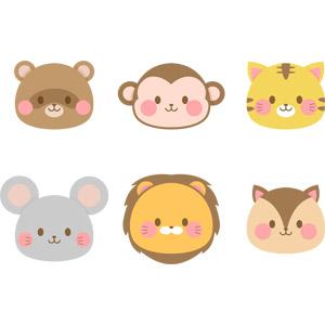 フリーイラスト, ベクター画像, AI, 動物, 哺乳類, 狸(タヌキ), 猿(サル), 虎(トラ), 鼠(ネズミ), ライオン, 栗鼠(リス), 動物の顔