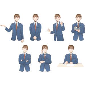 フリーイラスト, ベクター画像, EPS, 人物, 男性, ビジネス, ビジネスマン, サラリーマン, メンズスーツ, 職業, 仕事, ガッツポーズ, 頑張る, 案内する, 考える, 腕を組む, 通話, 手帳, 書く, 書類
