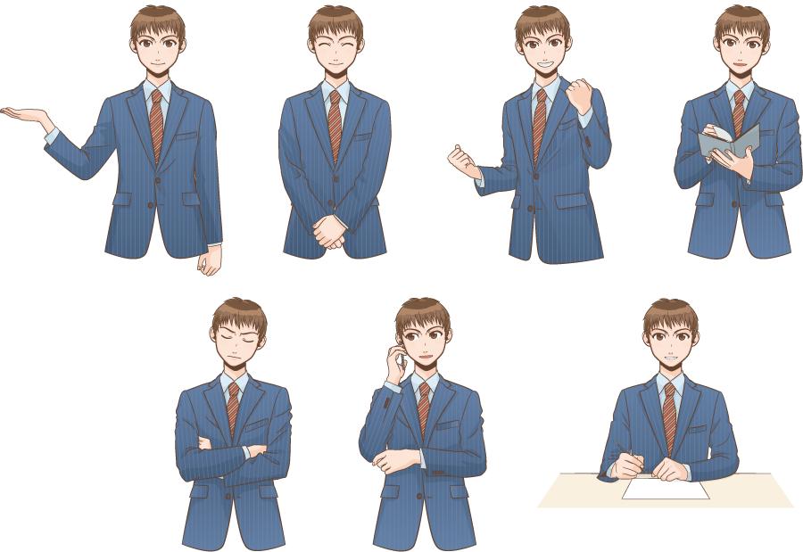 フリー イラスト7種類のポーズの違うビジネスマンのセット