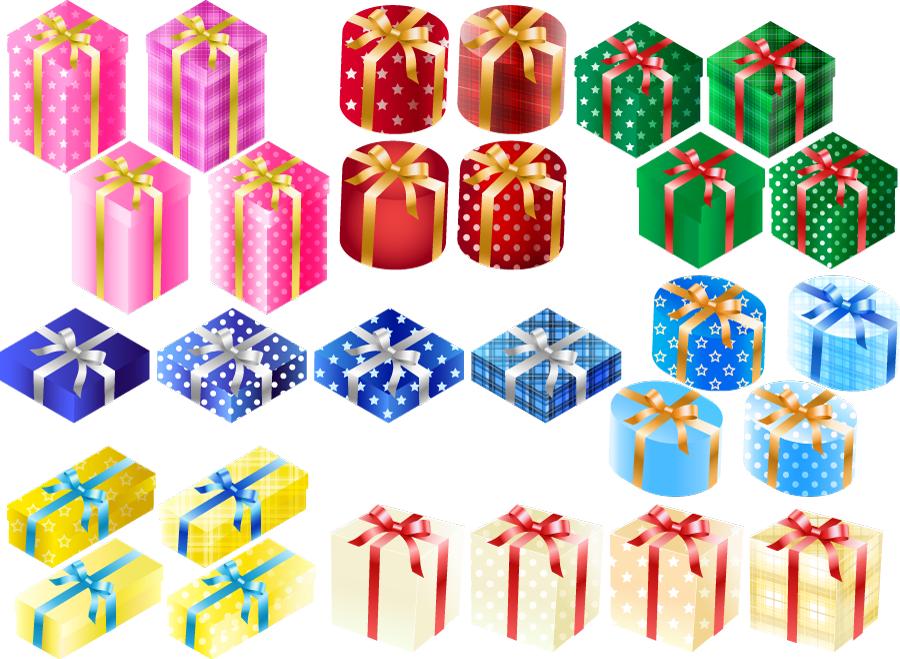 フリー イラスト28種類のプレゼント箱のセット