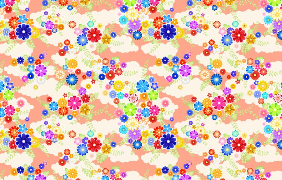 フリー イラスト雲と花と和柄背景