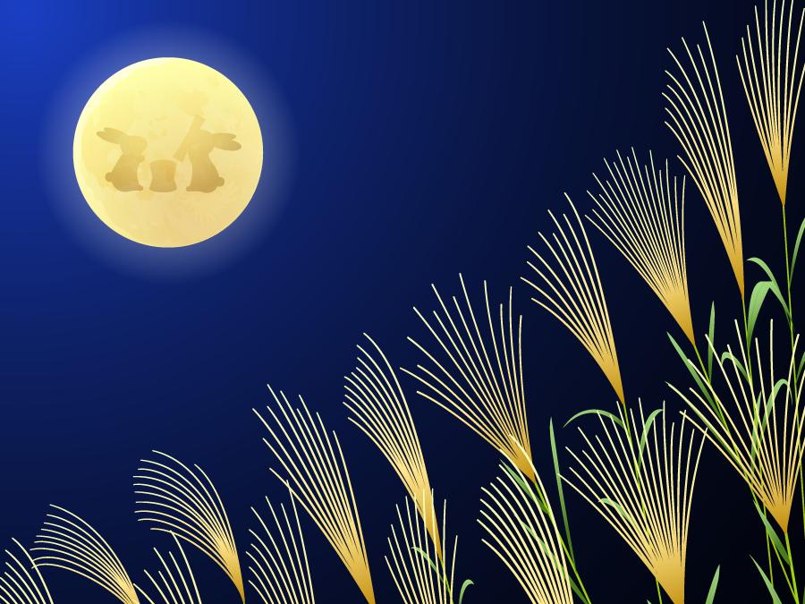 フリー イラストススキと月のウサギがいる満月のお月見の背景
