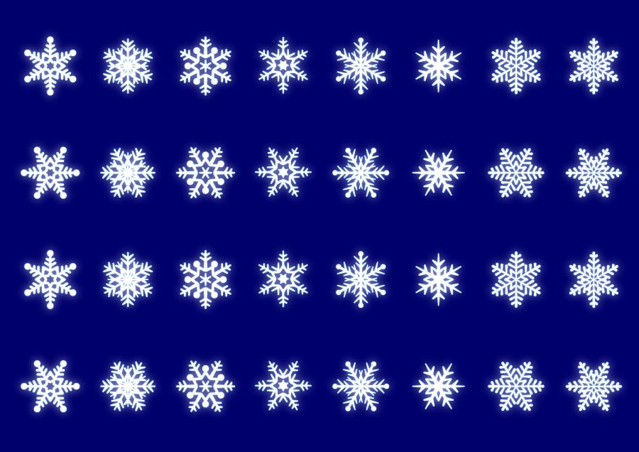 フリー イラスト雪の結晶のセット