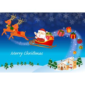 フリーイラスト, ベクター画像, AI, 背景, 年中行事, クリスマス, 12月, 冬, サンタクロース, トナカイ, プレゼント, 雪, 雪の結晶, ソリ, 家(一軒家), 夜