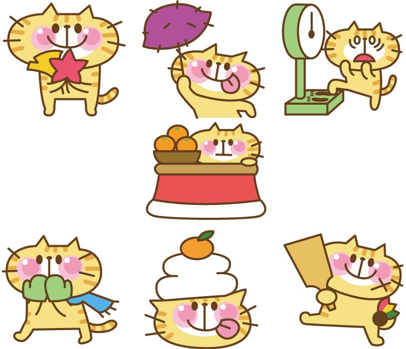 フリー イラスト秋と冬に関する7種類の猫のセット