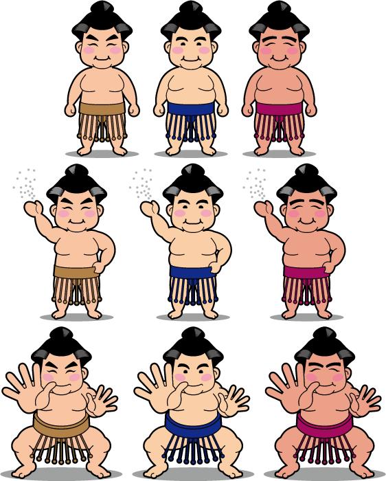 フリー イラスト9種類のお相撲さんのセット