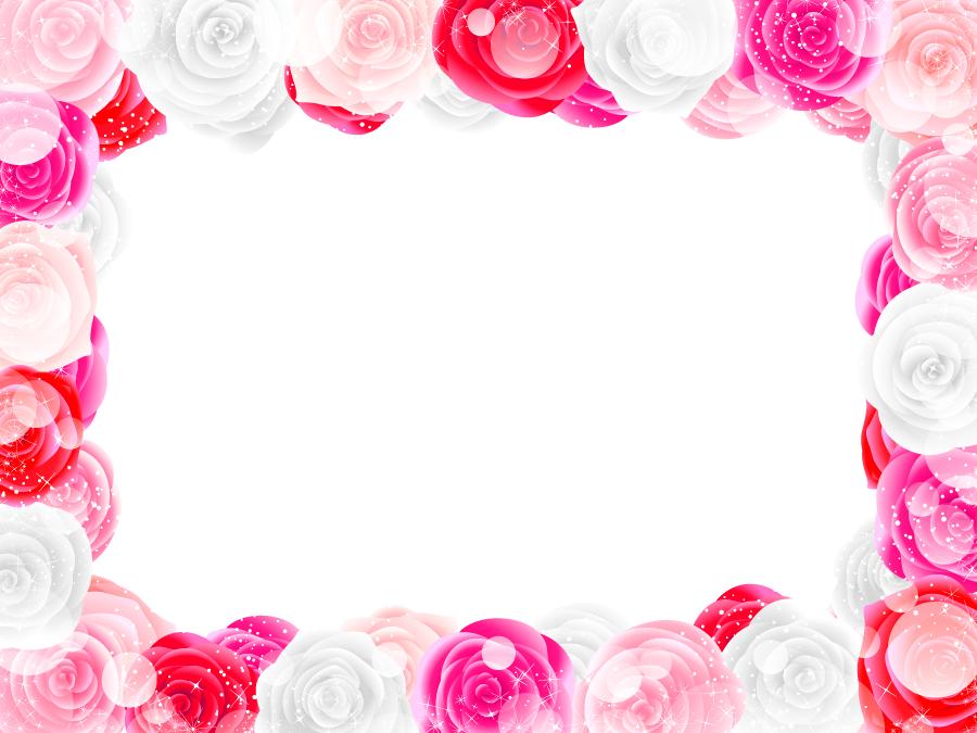 フリー イラストバラの花のフレーム