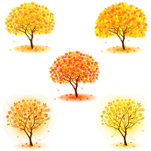 フリーイラスト, ベクター画像, AI, 自然, 樹木, 紅葉(黄葉), 落葉(落ち葉), 秋