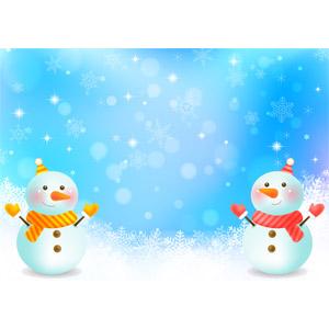 フリーイラスト, ベクター画像, AI, 背景, 雪, 雪の結晶, 雪だるま, 冬, 玉ボケ