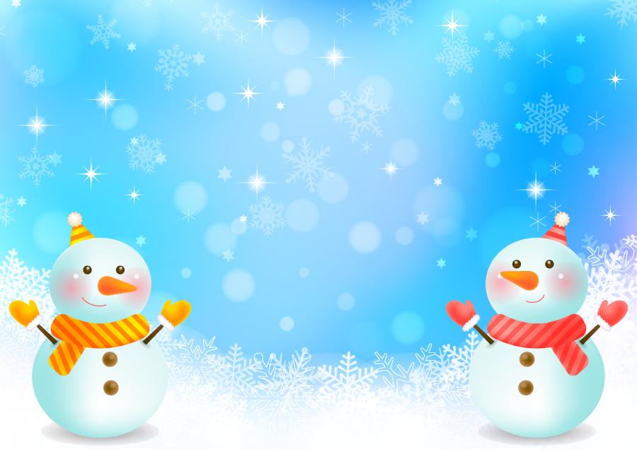 フリー イラスト雪だるまと雪の背景