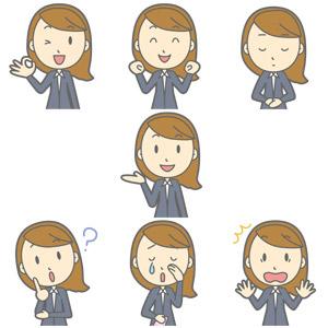 フリーイラスト, ベクター画像, AI, 人物, 女性, 職業, 女性(00017), ビジネスウーマン, OL(オフィスレディ), レディーススーツ, OKサイン, ガッツポーズ, 応援する, 謝罪, 謝る(ゴメン), 案内する, 分からない, 泣く(泣き顔), 驚く, 首を傾げる