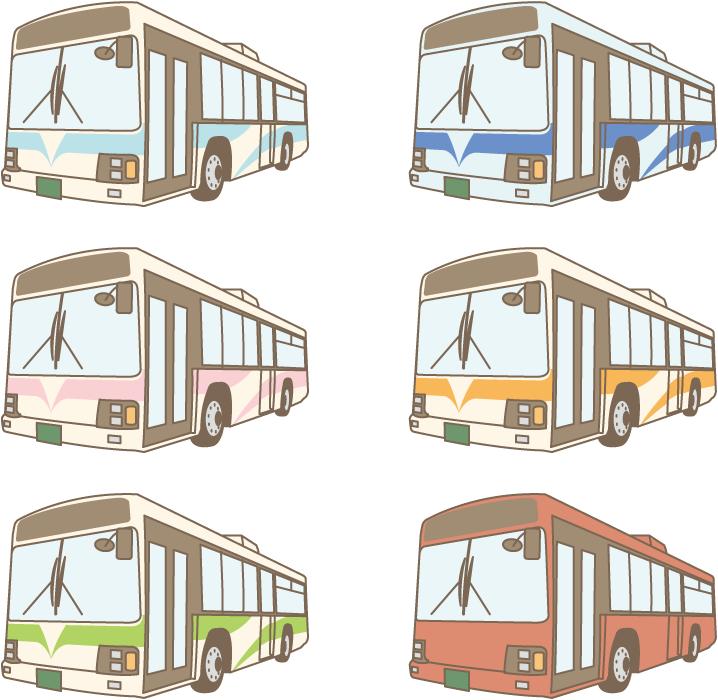 フリー イラスト色の違う6種類の路線バスのセット