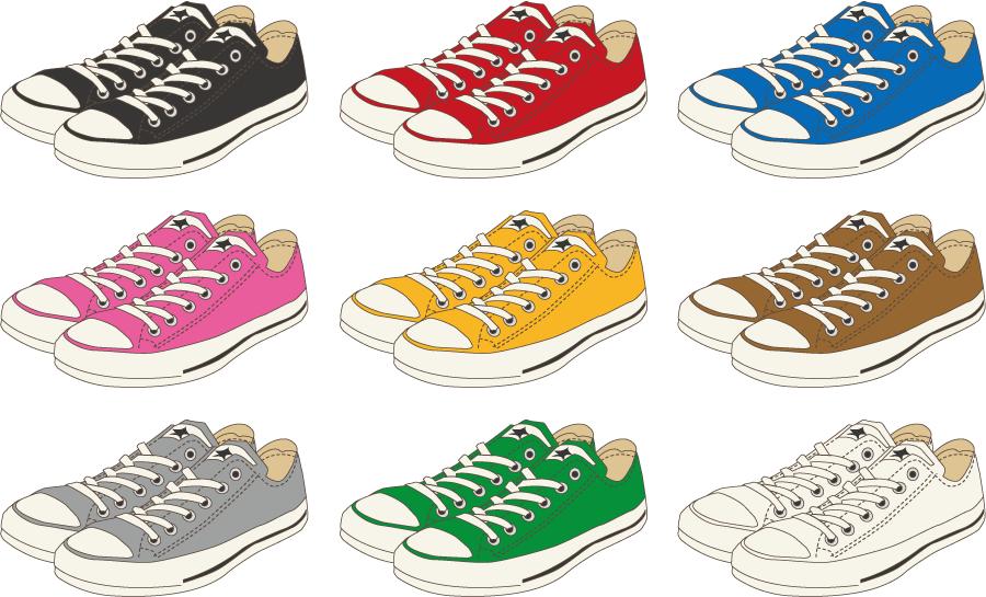 フリー イラスト色の違う9種類のスニーカーのセット