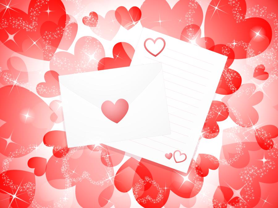 フリー イラスト赤色のハートとラブレターの背景