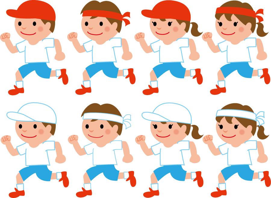 フリー イラスト8種類の運動会のかけっこのセット