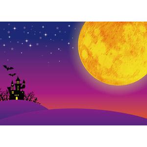 フリーイラスト, ベクター画像, AI, 年中行事, ハロウィン(ハロウィーン), 10月, 秋, 月, 満月, 夜, お化け屋敷, コウモリ
