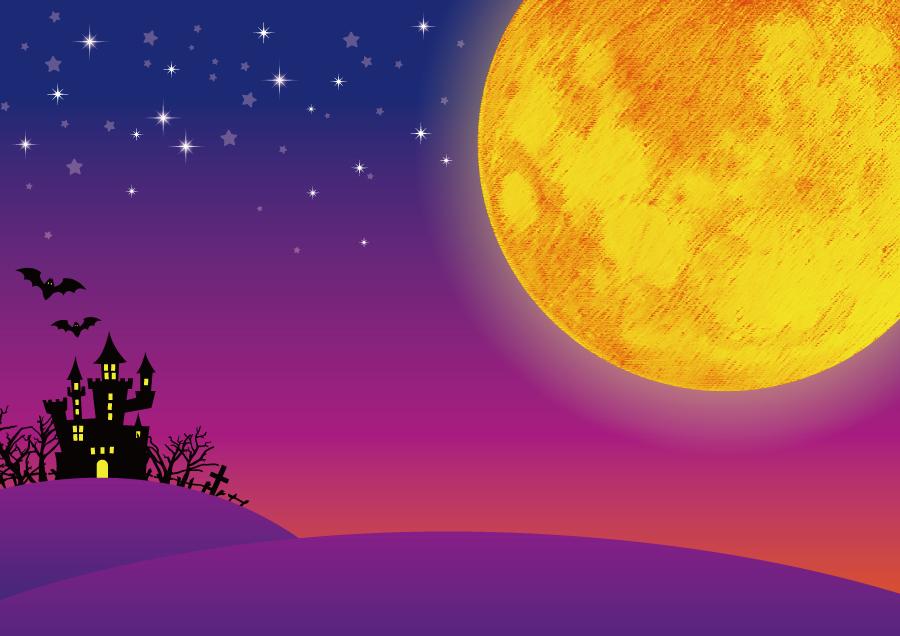 フリー イラストお化け屋敷と夜空の満月
