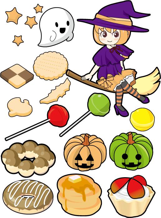 フリー イラスト魔女とお菓子と幽霊とジャックランタンのハロウィンセット