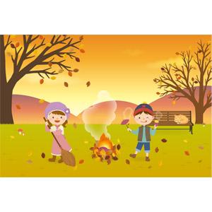 フリーイラスト, ベクター画像, EPS, 人物, 子供, 女の子, 男の子, 落葉(落ち葉), 秋, さつまいも, 焼き芋(やきいも), ベンチ, 猫(ネコ), 夕暮れ(夕方), 夕焼け, 焚き火