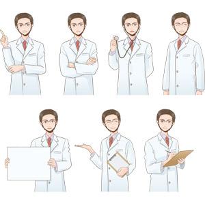 フリーイラスト, ベクター画像, EPS, 人物, 男性, 職業, 仕事, 医者(医師), 医療, ワンポイントアドバイス, 腕を組む, 聴診器, 笑う(笑顔), メッセージボード, 案内する, 書く