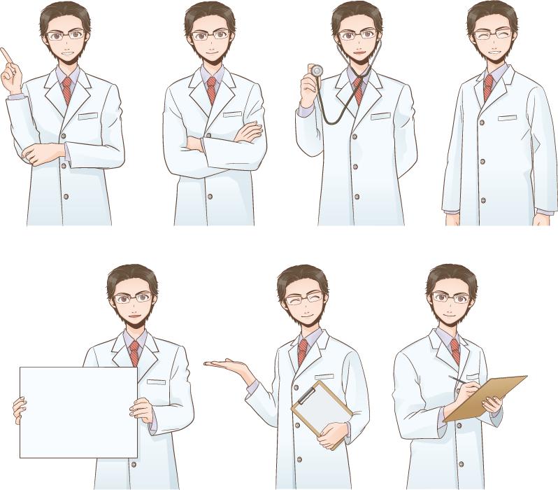 フリー イラスト表情とポーズの違う7種類のお医者さんのセット