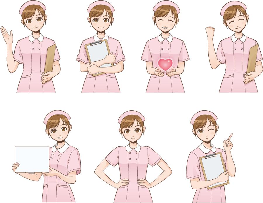 フリー イラスト表情とポーズの違う7種類の看護婦さんのセット