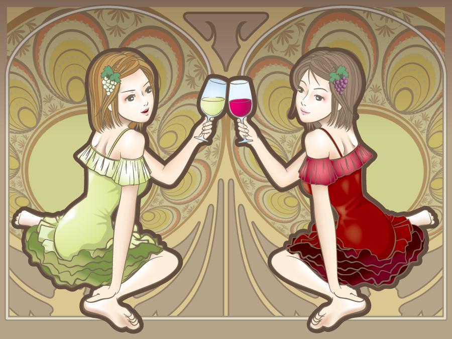 フリー イラスト白ワインと赤ワインで乾杯する女性と背景