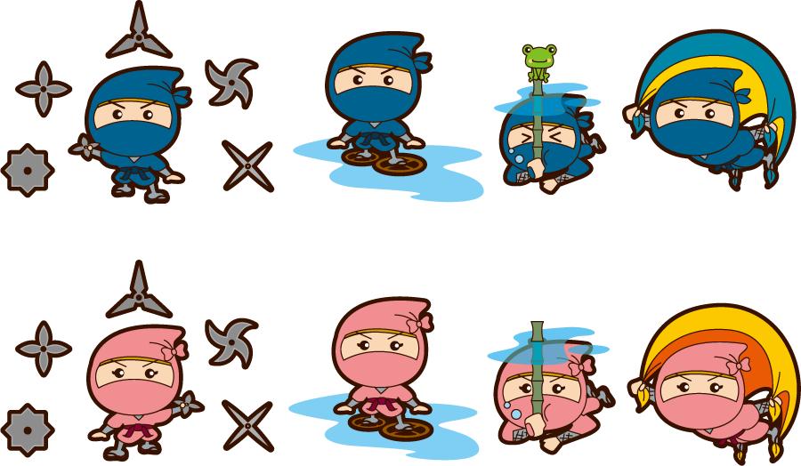 フリー イラスト8種類の忍者とくノ一のセット