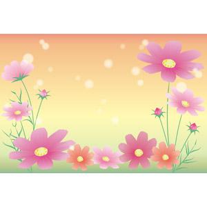 フリーイラスト, ベクター画像, AI, 背景, 植物, 花, コスモス(秋桜), 秋, 玉ボケ
