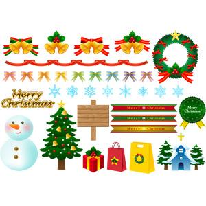 フリーイラスト, ベクター画像, AI, 年中行事, クリスマス, 12月, 冬, クリスマスベル, クリスマスリース, 蝶リボン, メリークリスマス, 雪の結晶, 雪だるま, クリスマスツリー, クリスマスプレゼント, メリークリスマス, 教会(聖堂), 立て看板, セイヨウヒイラギ, ショッピングバッグ