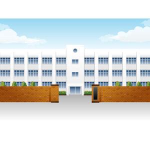 フリーイラスト, ベクター画像, AI, 建造物, 建築物, 学校, 校舎