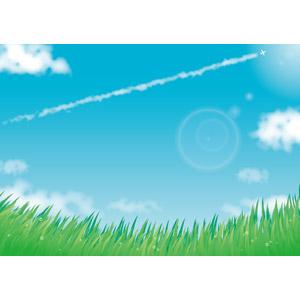 フリーイラスト, ベクター画像, AI, 風景, 草原, 草むら, 水滴(雫), 空, 青空, 雲, 飛行機雲, 飛行機