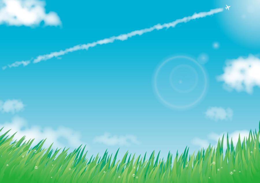 フリー イラスト草原と青空と飛行機雲の風景