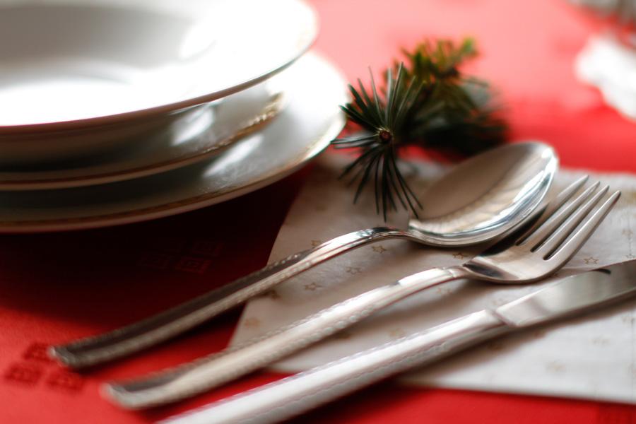 フリー 写真お皿とスプーンとフォークとテーブルナイフ