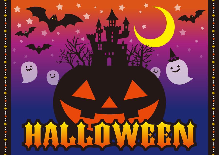 フリー イラストジャック・オー・ランタンと幽霊とコウモリのハロウィン背景