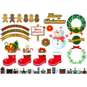 フリーイラスト, ベクター画像, AI, 年中行事, クリスマス, 12月, 冬, ジンジャーブレッドマン, メリークリスマス, クリスマスリース, サンタブーツ, キャンディケイン, 雪, 街並み(町並み)