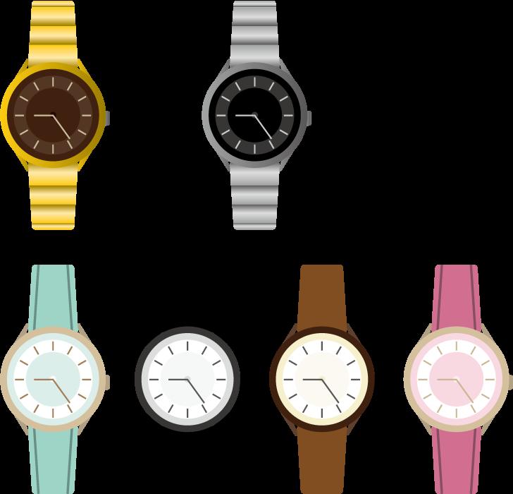 フリー イラスト7種類の腕時計のセット