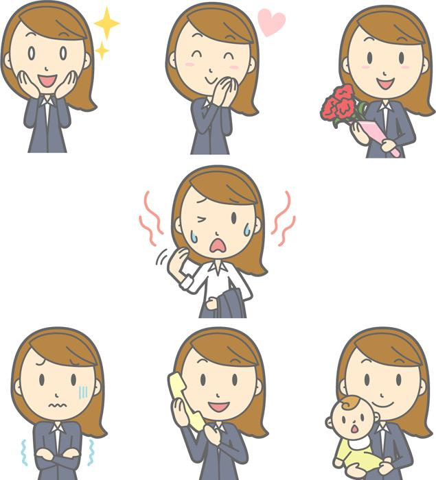 フリー イラスト目を輝かせるなどの7種類の女性会社員のセット
