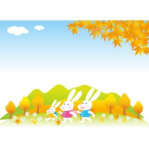 フリーイラスト, ベクター画像, AI, 動物, 哺乳類, 兎(ウサギ), 森林, 紅葉(黄葉), 落葉(落ち葉), 秋, もみじ(カエデ), イチョウ, ハイキング, ピクニック, レジャー