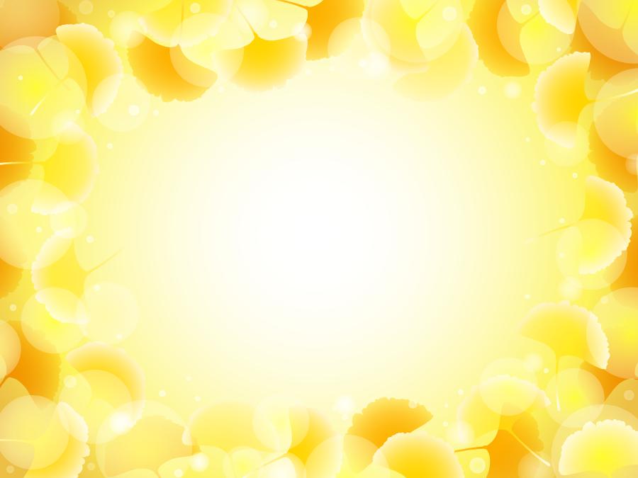 フリー イラスト黄葉したイチョウの葉っぱのフレーム