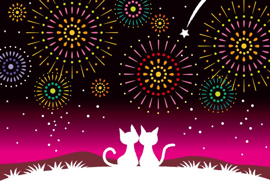 フリー イラスト打ち上げ花火を見る猫のカップル