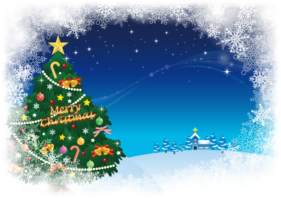 フリー イラスト雪に囲まれるクリスマスツリーと教会の背景
