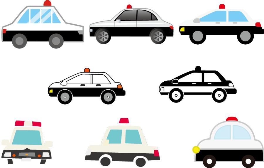 フリー イラスト8種類のパトカーのセット