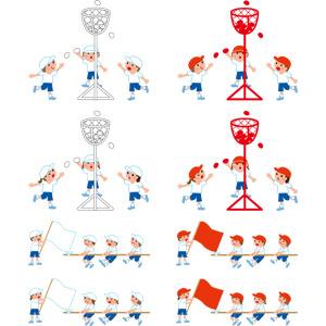 フリーイラスト, ベクター画像, EPS, 年中行事, 運動会(体育祭), 10月, 学校, 人物, 子供, 男の子, 女の子, 学生(生徒), 小学生, 綱引き, 玉入れ, 集団(グループ), 体操服(体操着), 紅白帽, 応援旗