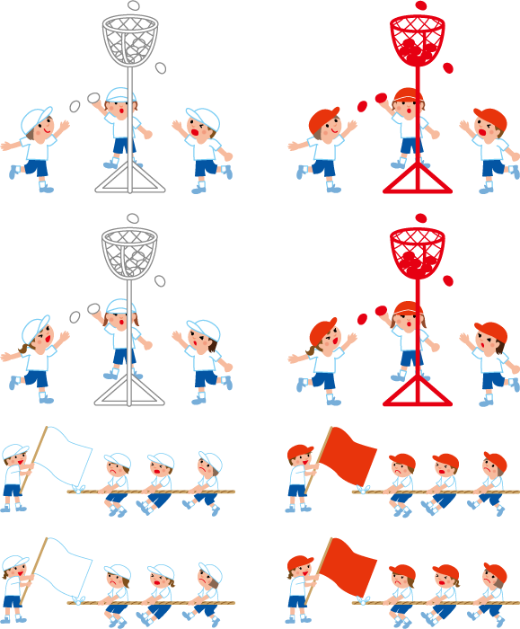 フリー イラスト運動会の玉入れと綱引きのセット
