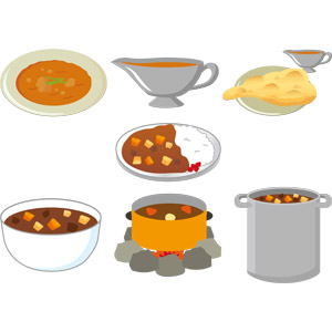 フリーイラスト, ベクター画像, EPS, 食べ物(食料), 料理, 洋食, カレー