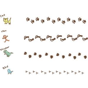 フリーイラスト, ベクター画像, EPS, 飾り罫線(ライン), 足跡(人物), 足跡(動物)